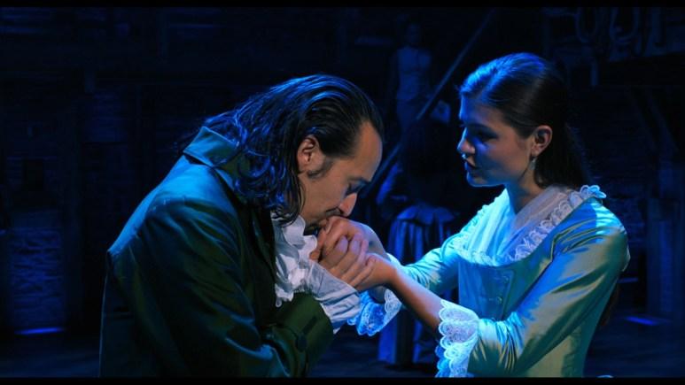 Lin-Manuel Miranda as Alexander Hamilton and Phillipa Soo as Eliza Hamilton in Hamilton