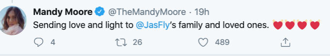 Mandy Moore pays tribute to Jas Waters.