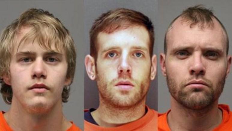 Mugshots of Shawn Benson, Edward Zelko, and Justin Jensen