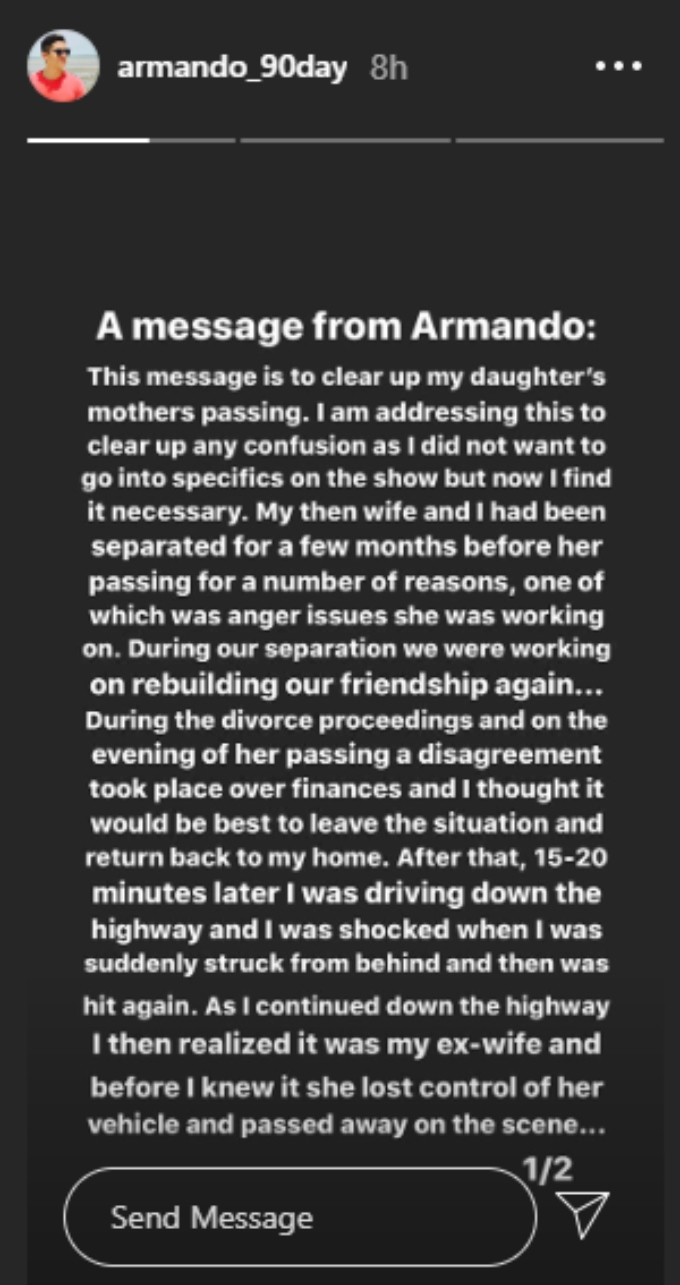 Armando explains how his wife died after 90 Day Fiance: The Other Way fans started digging up articles about it