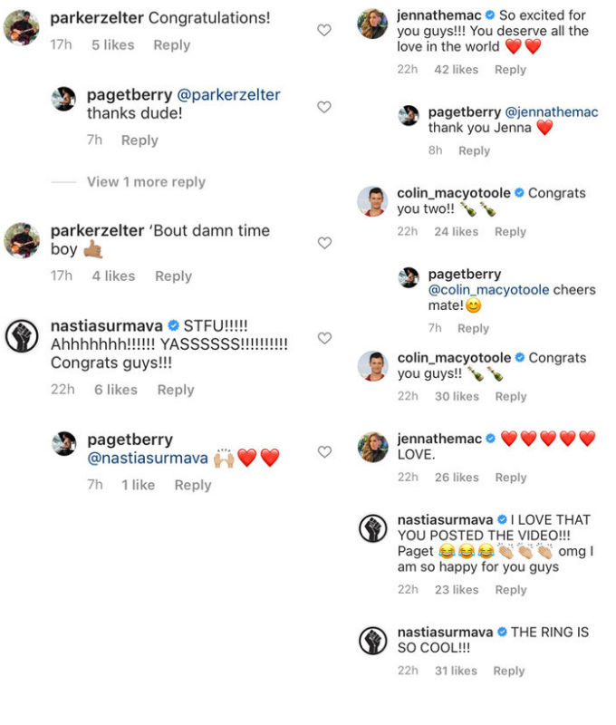 Bravo family congratulates Paget and Ciara on engagement.