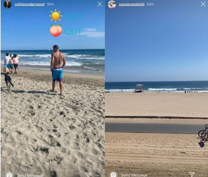 Cassie Randolph and Colton Underwood at the beach