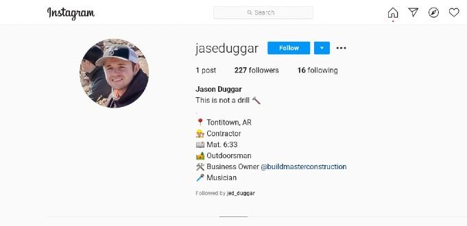 Jason Duggar's Instagram page.