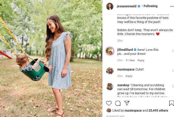 Jill comments on Jessa's post.
