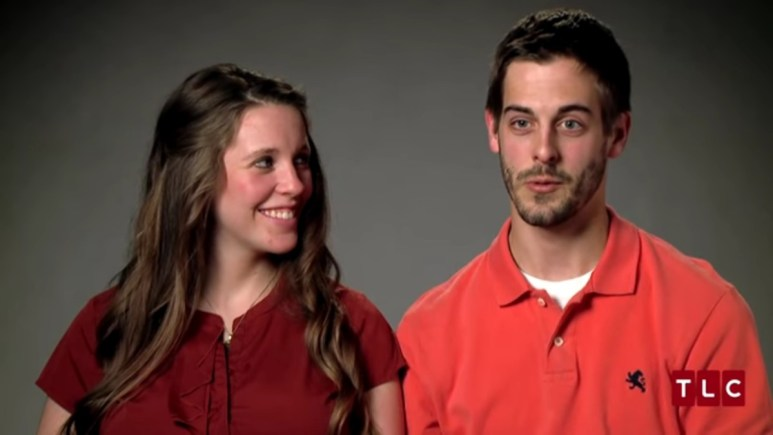 Jill Duggar and Derick Dillard in a 19 Kids and Counting confessional.