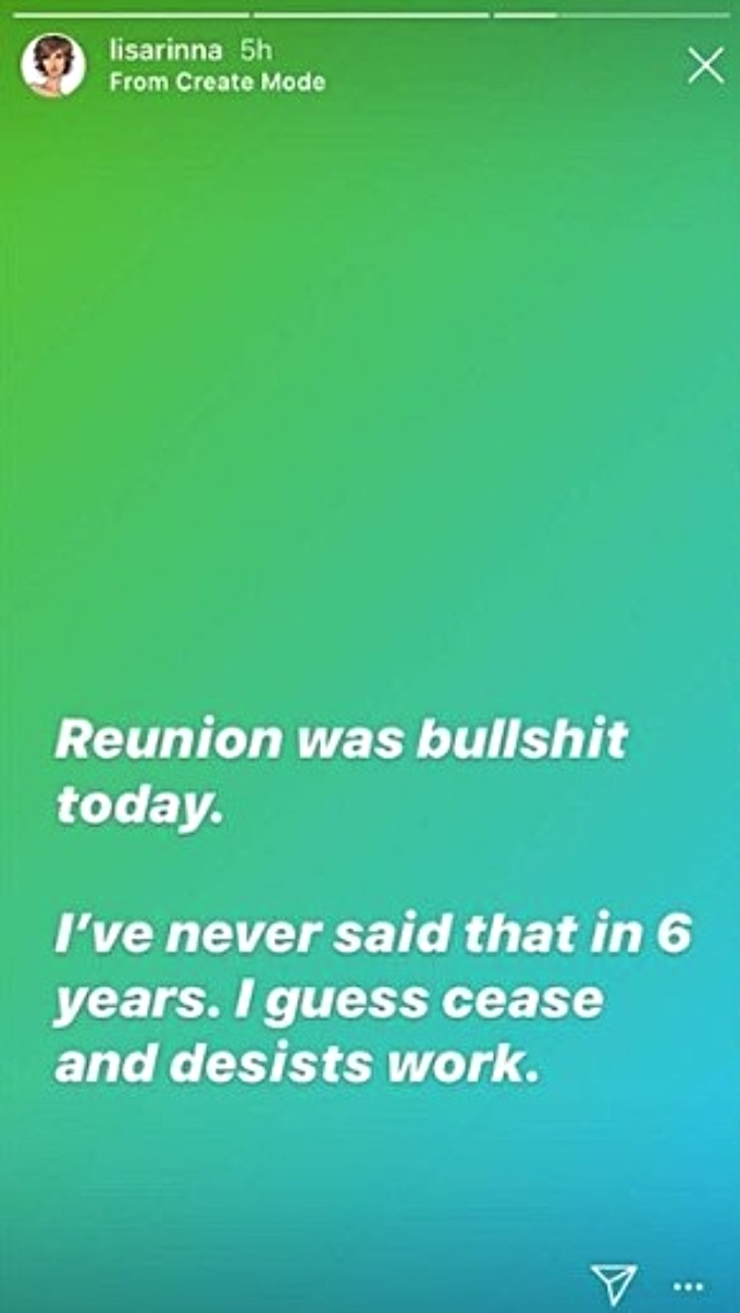 Lisa Rinna calls reunion bulls**t