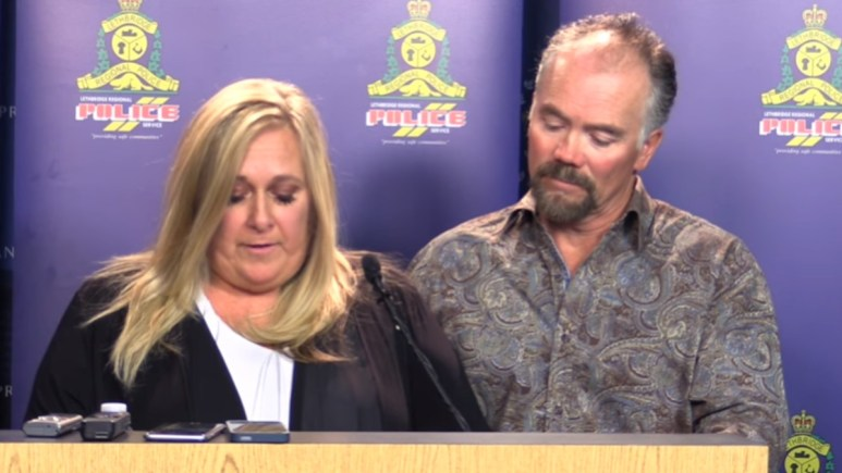Lisa Freihaut gives a press conference on her mother's death