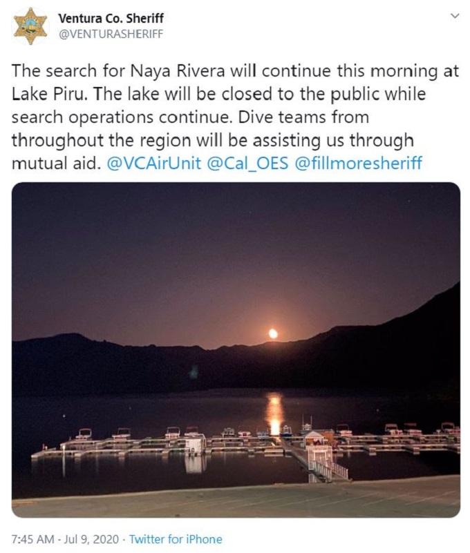 Ventura County Sheriff's Office tweets about Naya Rivera