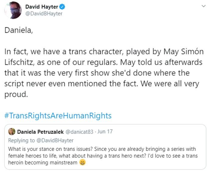 Tweet by show writer David Hayter on Lifschitz
