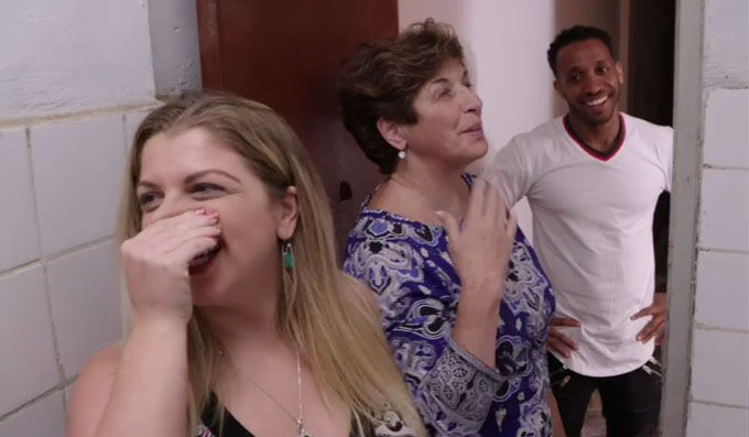 ari and mom holding their noses in gross bathroom on 90 day fiance