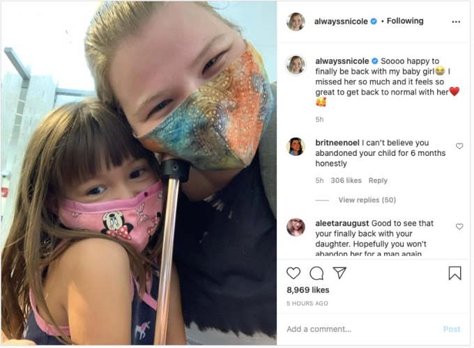 Nicole's first photo after her reunion with May