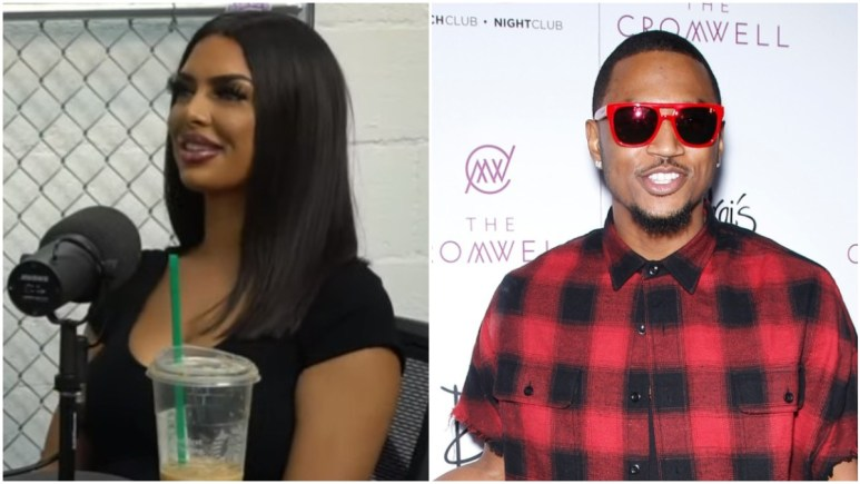 Aliza on the podcast and Trey Songz poses on the red carpet