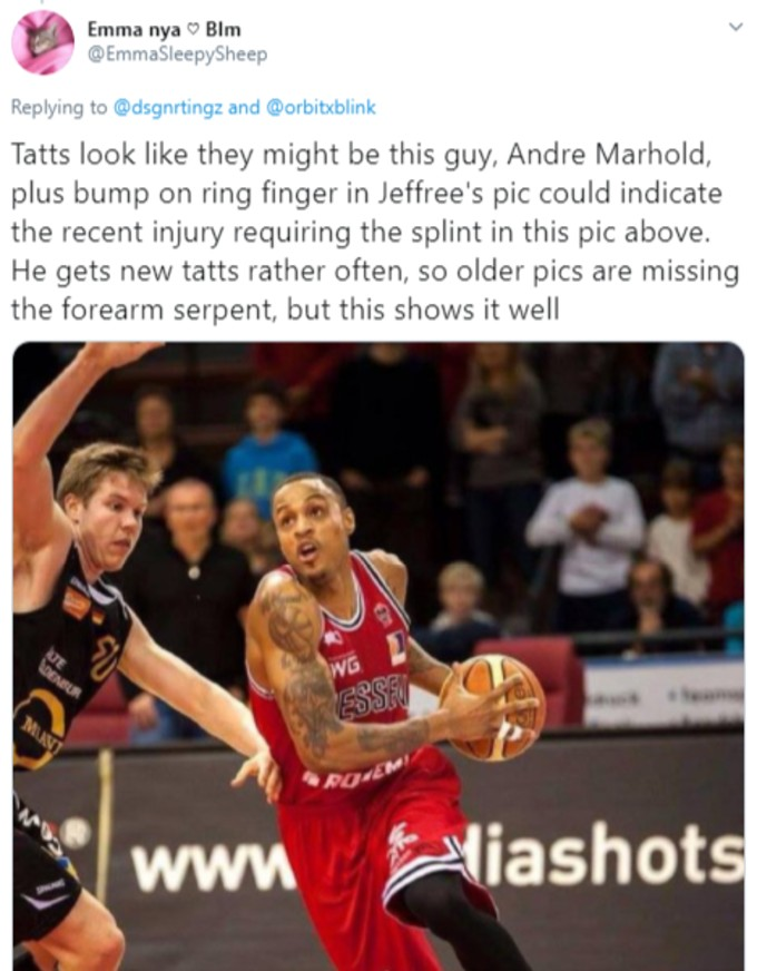 Tweet of Andre Marhold playing basketball