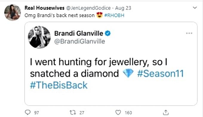 Tweet says Brandi Glanville is returning to RHOBH
