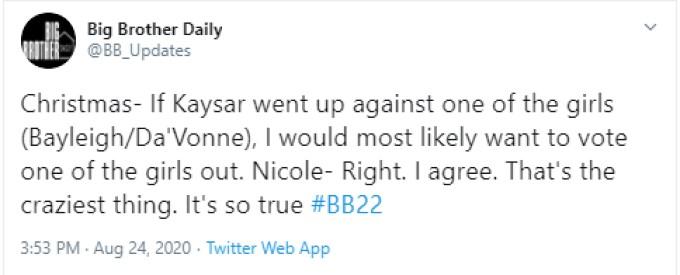 Christmas And Nicole Chat On BB22
