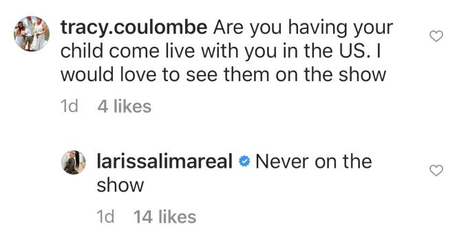 Fan asks Larissa about her kids