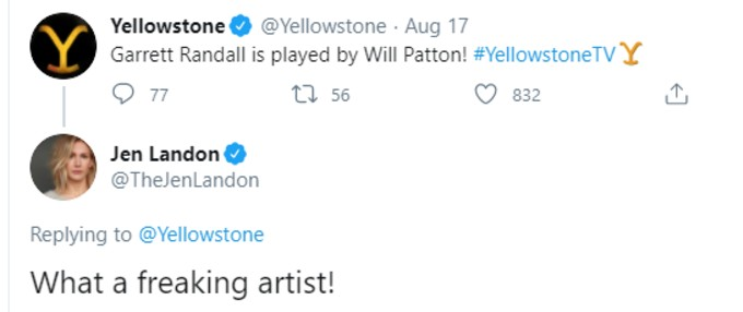 Tweet praising Will Patton