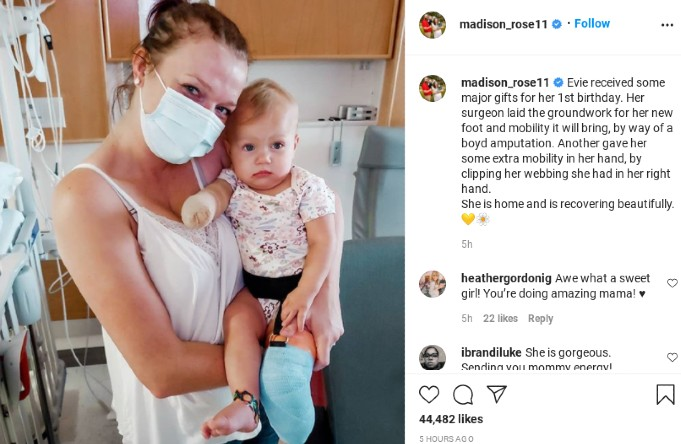 Maddie updates fans on Evie.
