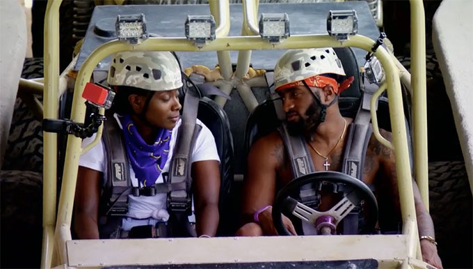 MAFS couple Woody and Amani in a dunebuggy