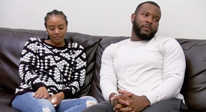 MAFS Season 11 couple Karen and Miles sitting on couch unhappy