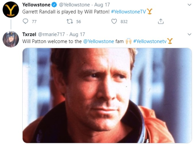 Tweet announcing Will Patton's casting