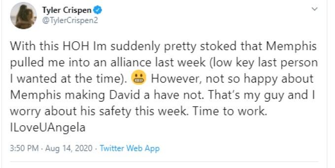Tyler Twitter Post On BB22