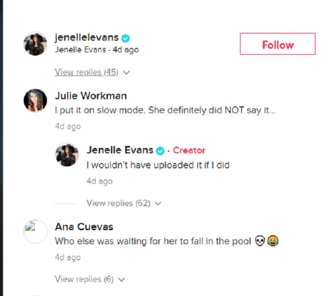 TikTok comments on Jenelle Evans