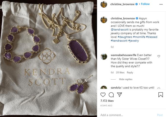 Christine's Instagram pic of Kendra Scott jewelry