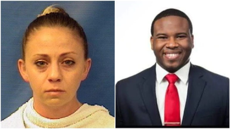 Mugshot of Amber Guyger and Facebook pic of Botham Jean