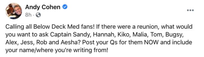 Andy Cohen Facebook post about Below deck Med Season 5 reunion