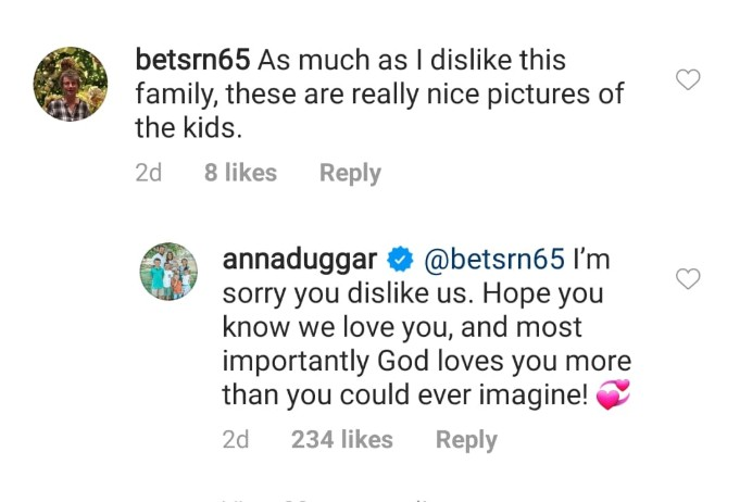 Anna Duggar clapped back at a rude comment.