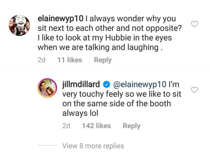 Jill responds to fan on Instagram.