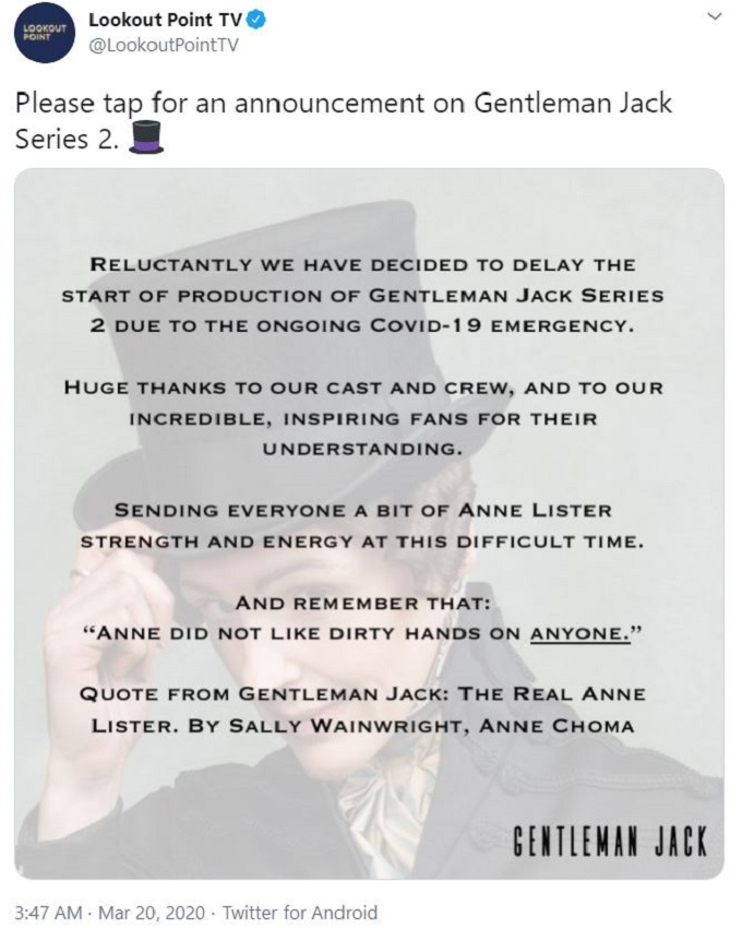 Lookout Point TV announces Gentleman Jack Season 2
