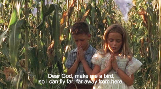 Jenny from Forest Gump praying to make her a bird to fly far far away from here