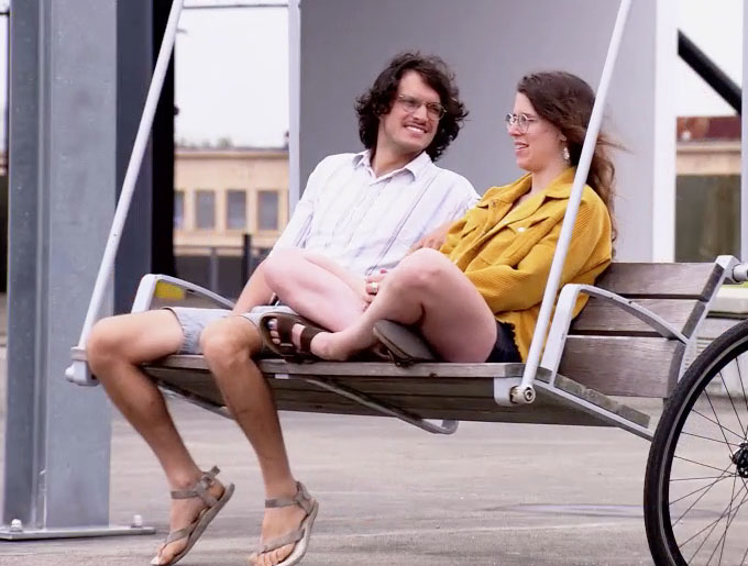 MAFS Season 11 couple Amelia and Bennett on a swing