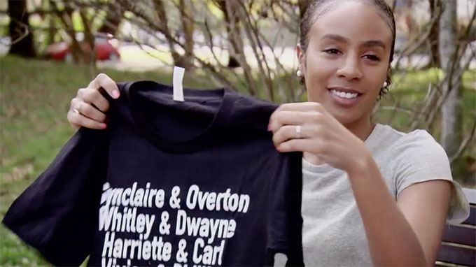 MAFS Karen holding t-shirt from Miles