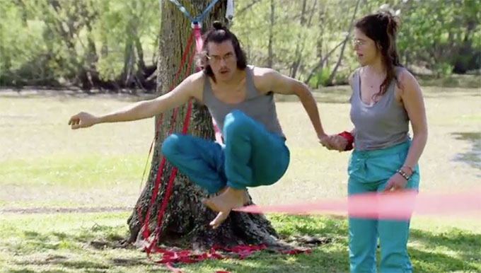 MAFS Season 11 couple Bennett and Amelia tightrope walking.