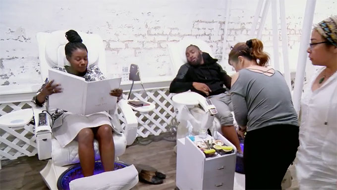 MAFS Season 11 couple Woody and Amani at the spa getting a pedicure