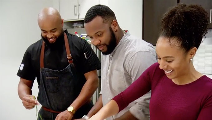 MAFS couple Karen and Miles cooking with friend