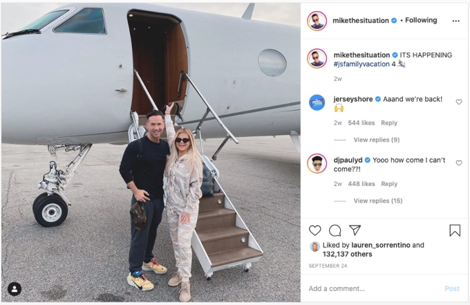 Mike and Lauren Sorrentino leave to film Jersey Shore Family Vacation Pic credit: @Mikethesituation/Instagram