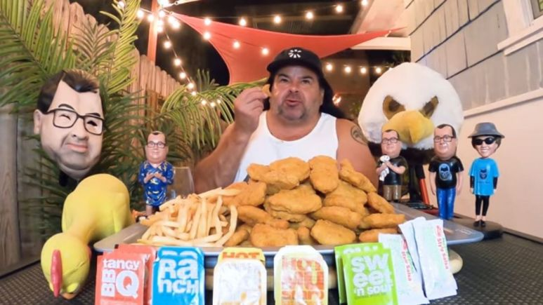 Big Ed takes the 100 Chicken Nugget Challenge on his YouTube channel.