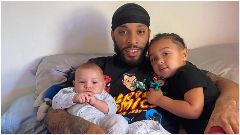 Chris Lopez with sons Creed and Lux following paternity test