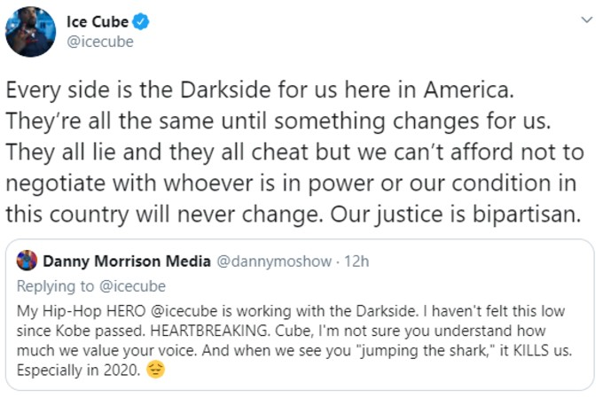 Ice Cube says all politicians are on the Darkside