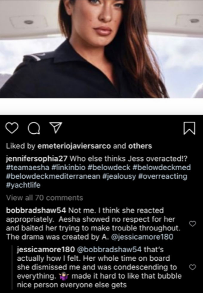 Jess calls out Aesha on Instagram.