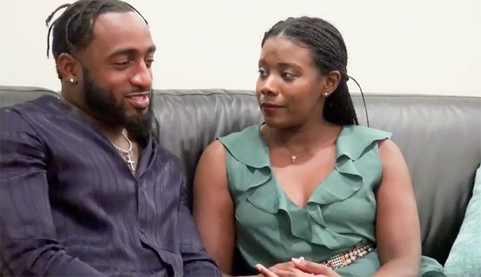 MAFS Woody and Amani sitting together on a couch