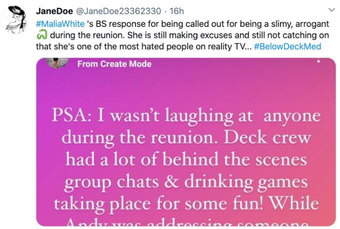 Fan Tweet about Malia White reunion explanation.