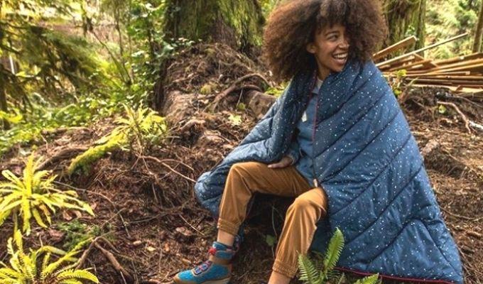 Rumpl blanket outdoors