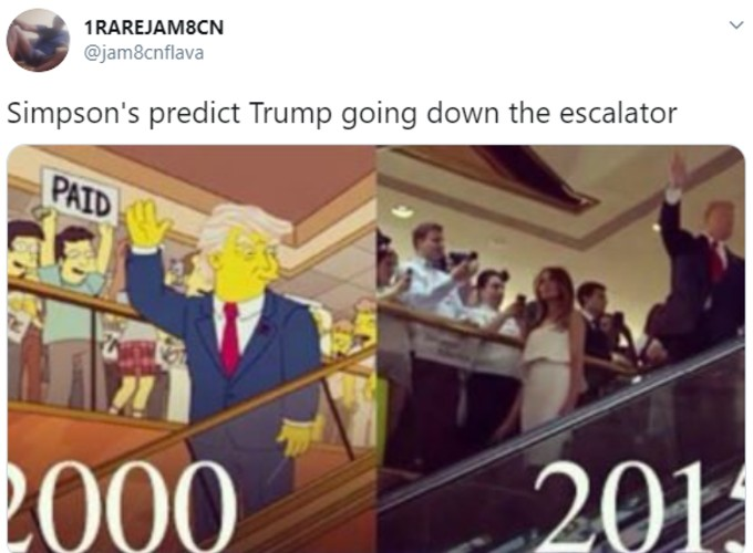 Fake Simpsons pic of Trump on escalator