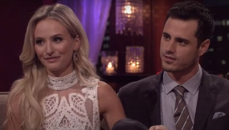 Lauren Bushnell in a white dress sitting next to Ben Higgins