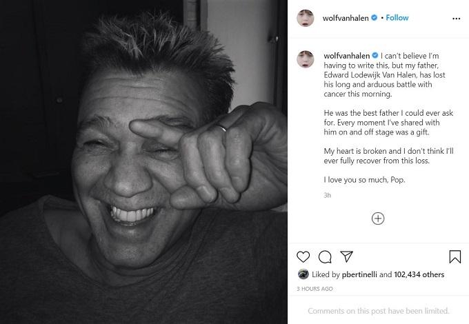 Wolfgang Van Halen on Instagram